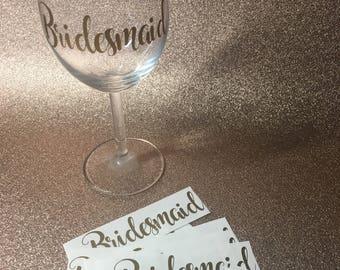 Personalised wedding glass, personalised wine glass, personalised wedding glasses, bridesmaid gift, hen party glasses, wedding party glass,