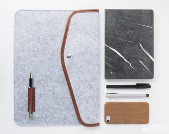 "13"" Laptop Sleeve - Grey - Macbook, PC, 13 Inch, Felt, Grey Laptop Sleeve, iPad Sleeve, Business, Fashion Accessories, Compendium,Minimalist"