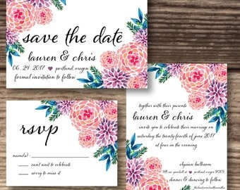 Flower Wedding Suite / Garden Wedding Invitation / Rustic Bride Invite / RSVP / Save The Date / Printable Version