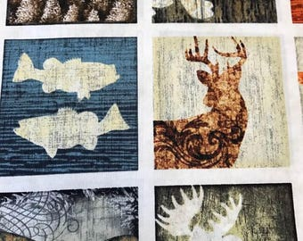 Woodland Spirit Lodge Patches, Wildlife, Bears, Elk, Duck, Nature Quilt, Lodge Quilt, Hunting fabric