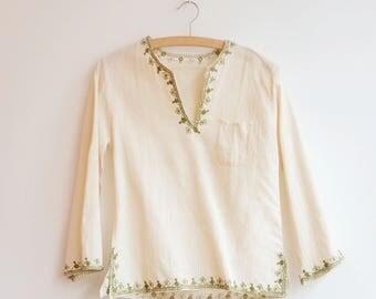 vintage cotton hippie boho embroidery blouse top S/XS