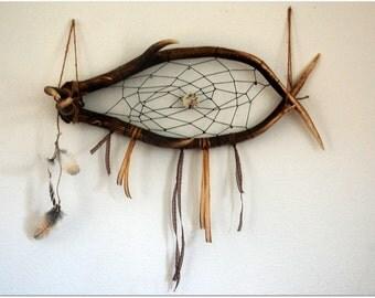 DreamCatcher wooden deer, feathers of raptors, natural stones