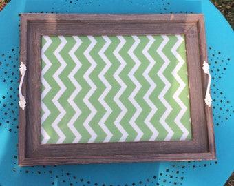 Green and white chevron coffee tray
