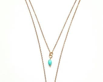 Collar two ranks ROSY turquoise bead and tassel