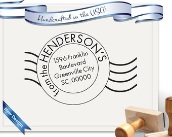 Postmark Style Large Size Return Address Stamp - Large - Perfect for Gifts, Realtor Gifts, Christmas, House Warming - SKU 1238
