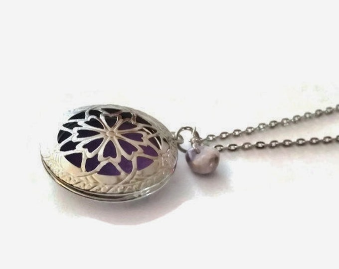 Amethyst Aromatherapy Locket Necklace, Crown Chakra Necklace, February's Birthstone, Amethyst Necklace, Unique Birthday Gift, N008