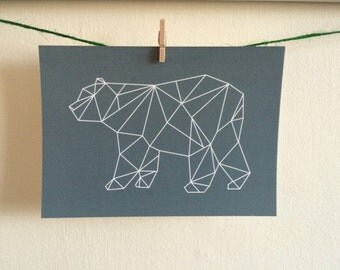 Geometric Bear Postcard Print - Grey
