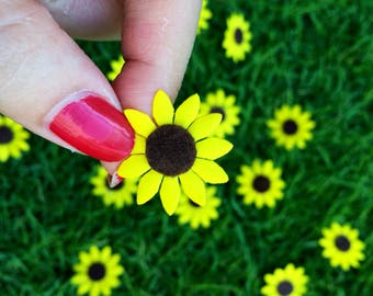 Mini Sunflowers (25pcs), Felt Sunflowers, Die Cut Flowers, Fabric Sunflowers, Artificial Flowers, Flat back Flowers, Scrap Booking