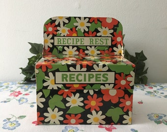 1960's Adorable Tin Recipe Box with Rest