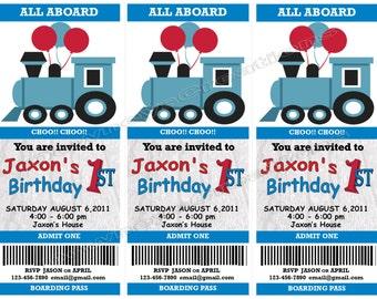 TRAIN BOARDING PASS Birthday Invitations
