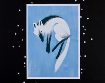 A4 red maned wolf giclée art print - wolf - acrylic painting - fox - animal -