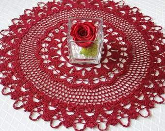 Very beautiful bordeaux doily,Crochet doily,Cotton,openwork doily,Tablecloth,vintage doily,Lace doily,Spruced doily on the table,Home decor