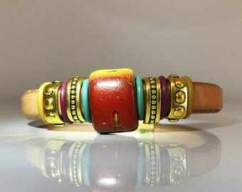 Natural 100% Liquorice Leather Bracelet with Red, Green and Gold Ceramic Stone