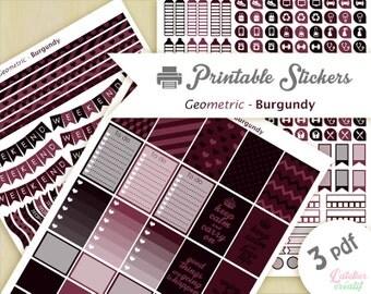 Géometrique style burgundy aubergine violine prune vin | Printable stickers | 3 pdf | Téléchargement instantané | Planner, Happy planner