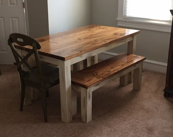 Distressed Rustic Farmhouse Table  Custom  Wood