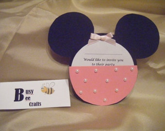 Handmade Pack of 10 Miss Mouse Party Invites   (ready to ship)
