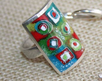 Cloisonne enamel ring  Silver 925 Hot enamel rings Colorful jewelry Summer ring Green blue white red