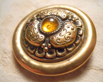 Antique Jeweled Topaz Glass and Brass ~ Lovely Gay 90s Button ~ 1  1/2 inch