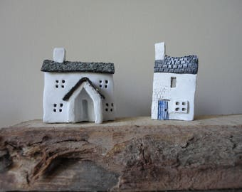Tiny houses, two rustic white cottages, felt roof, house warming gift, Mothers Day