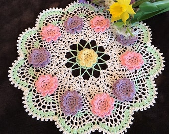 Spring Lace Doily - Flower Doily - Round Crochet Doily - Easter Decor - Cottage Decor - Coffee Table Decor - Pineapple Doily