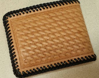 Natural Deluxe Men's Leather Wallet, HandTooled Weave Pattern Leather Wallet, 4 Pocket/Vinyl Photo Insert Leather Interior, HandLaced