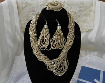 Beige Sea Bead Necklace Earring Bracelet Set #200
