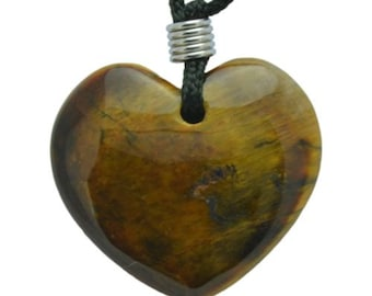 Heart Tigers Eye Gemstone Pendant Hand Carved Stone Necklace