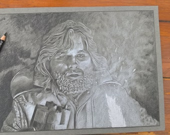 "Kurt Russell / R.J.McReady - The Thing original pencil drawing 11""x7.5"""