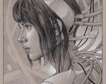 Ghost In The Shell - Scarlett Johansson pencil illustration A3 print