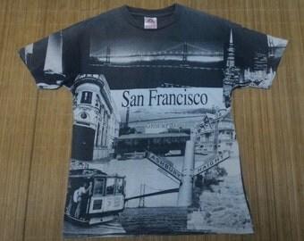 San Francisco vintage town picture fullprint Tshirt