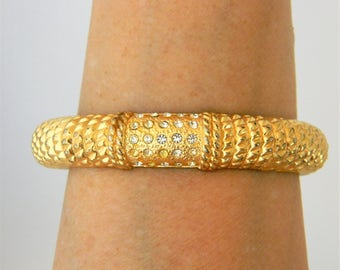 Vintage Hinged Bangle Rhinestone Bracelet, Statement Bracelet, Gold Tone, Retro Bracelet, Retro Jewelry, Costume Jewelry