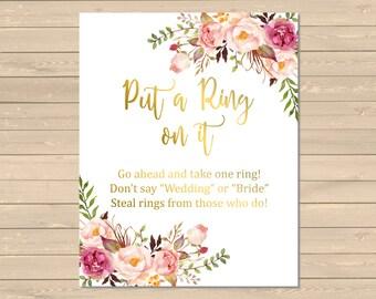 Gold Boho Put a Ring on It Bridal Shower Game, Printable Floral Dont Say Game, Gold Boho Dont Say Bride Shower Game Instant Download, 110-G
