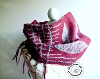 Scarf Merino felted winter accessories elegant design gift ideas women original geshenke scarf red grey