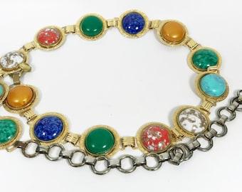 Vintage Mulitcolor Stone Goldtone Metal Link Belt
