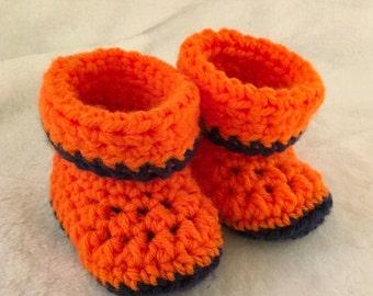 Broncos Fan Crochet Baby Booties