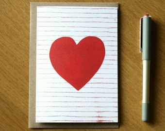 Heart Greeting Card - Heart Artwork - Heart Card - Wedding Card - Anniversary Card - Notecard - Valentines Card - Valentines Day - Love Card