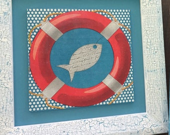 Wooden frame for child's room on the theme of the sea fish and buoy
