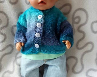 Hand-knit cardigan for babydoll