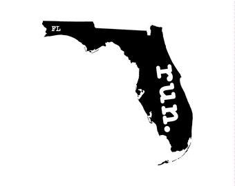 Run FL State Outline Magnet