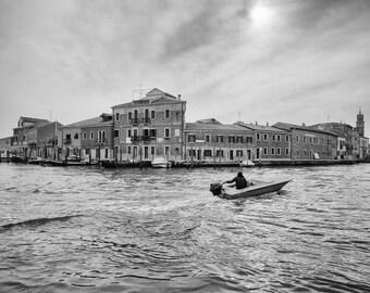 Cityscape-BW photo,  Burano, Island @Venice, Italy