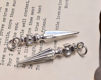 2 pcs sterling silver spike charm pendant