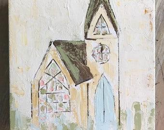 Church Painting . Church Art . Southern Art . Southern Decor . Farmhouse Style . Spiritual Art . Spiritual Painting