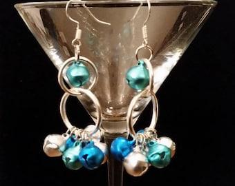 Blue & Silver Jingle Bell Earrings, Bell Earrings, Holiday Earrings