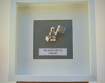 When I grow up I want to be..... An Astronaut LEGO mini Figure framed picture 25 by 25 cm