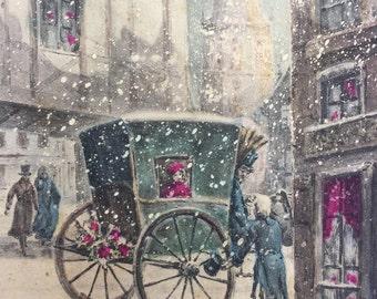 1800s Paris in Winter * Illustration on Postcard
