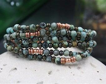 Womens Turquoise Bracelet, Bohemian Bracelet, African Jade, African Heishi, Lustrous Vintage Czech Beads, Beacon Bracelet