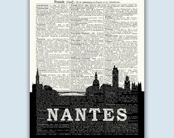 Nantes Cityscape, Nantes Home Decor, Nantes France, Nantes Poster, Nantes Print, Nantes Skyline, Nantes Wall Art, Nantes Wall Decor