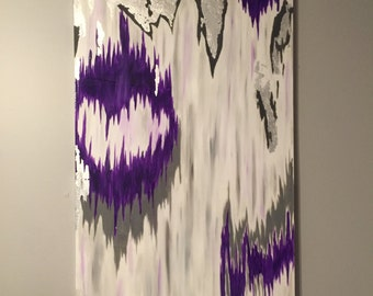 Sold! Original acrylic painting with purple, gray, silver, silver leafing, and resin.