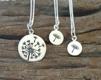 Sterling Silver Dandelion Necklaces, Mother Daughter Necklaces, Set of 3, Dandelion Charm, Dandelion Pendant, Mother's Gift