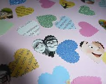 100 x Handmade Disney Wedding Up Theme Up Heart Paper scalloped Hearts Table Confetti Wedding Party Decorations!!!